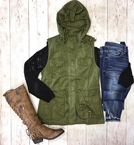 """""""Rugged Chic"""" Army Green Cargo Vest"""