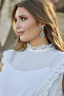 Multi Stone Sterling Silver & Turquoise Earrings