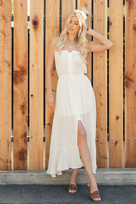 """Cosmos In Cozumel"" White Strapless Button Detail Dress"