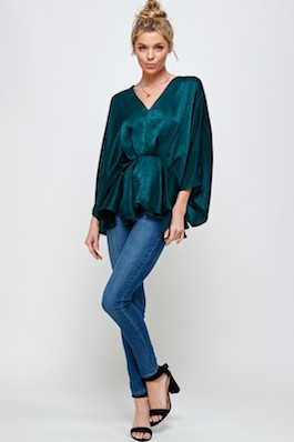 """""""Oh So Lovely"""" Hunter Green Solid Flounce Top"""