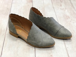 Grey Closed Toe Flat Shoe