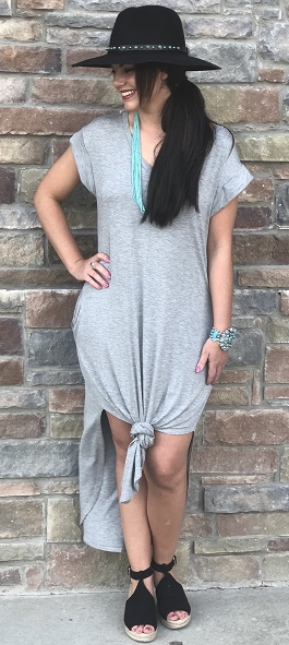 """Simple Ways"" Grey T-Shirt Dress With Pockets"