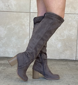 Grey Over The Knee Heeled Boot