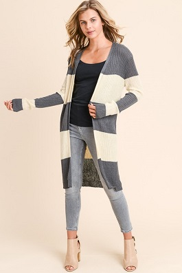 """Among The Lines"" Grey/Taupe Striped Cardigan"