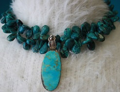 Turquoise Teardrop Beaded Necklace with Turquoise Pendant
