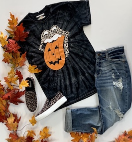 Halloween Tongue T-Shirt With Leopard