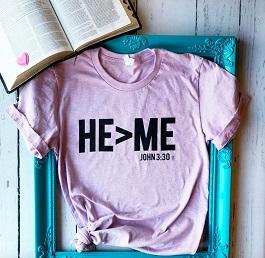"""HE>Me"" Lilac Unisex Tee"