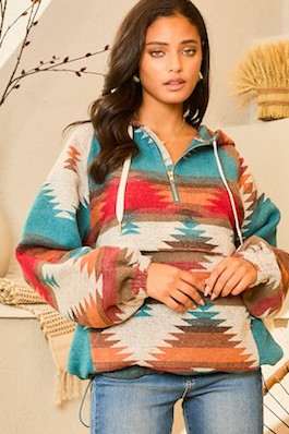 """""""Headed West"""" Teal Multi Aztec Print Pullover"""
