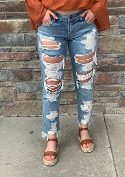 Heavy Distressed Medium Wash Jeans