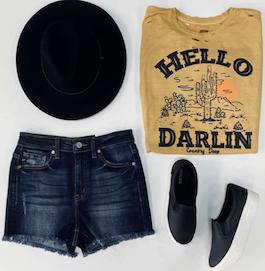 """Hello Darlin"" Mustard Graphic T-Shirt"