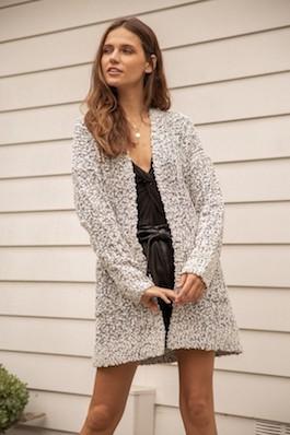 """Fuzzy Nights"" White/Black Nubby Textured Sweater Cardigan"