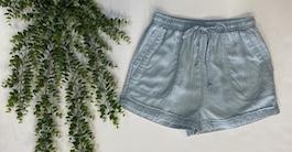 Light Blue Stripe Jacquard Tencel Shorts