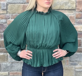 """So Glam"" Hunter Green Construction Top"
