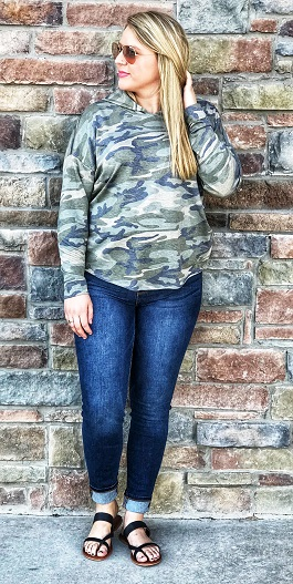 """Hidden Secret"" Camo Hooded Pullover With Criss Cross Back"