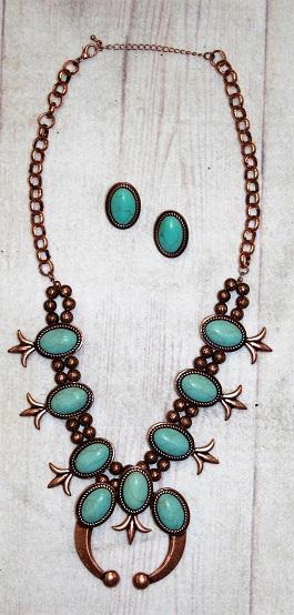 Copper & Turquoise Classic Squash Blossom