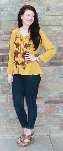 """""""Yellow Rose Of Texas"""" Mustard Embroidered Top(BA6620)"""