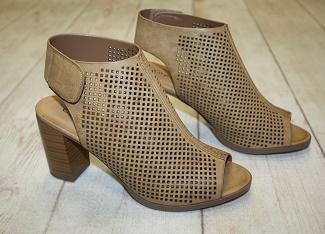 Tan Laser Cut Peep Toe Sandal