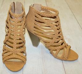 Cognac Braided Woven Heeled Sandal