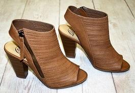 Cognac Zipper Detail Peep Toe Sandal