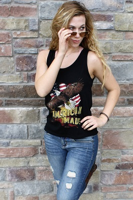 """American Made"" Black Graphic Tank(RK-2931-160)"