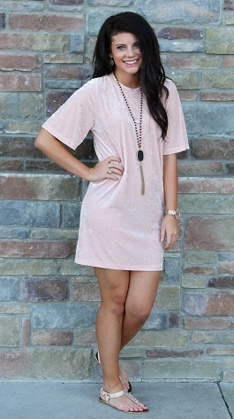 """Crushin"" Light Pink Crushed Velvet Dress(D4636)"