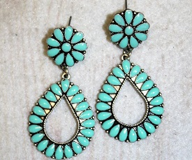Turquoise Tear Drop Concho Earring