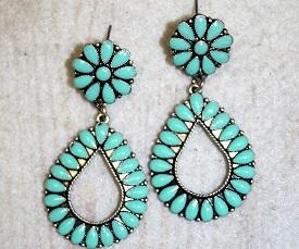 Turquoise Tear Drop Concho Earring