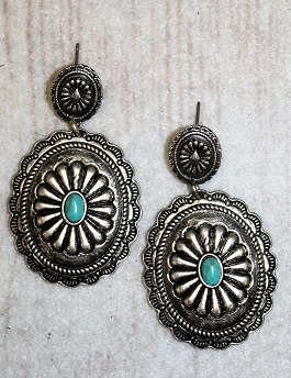 Silver Concho Earring With Small Turquoise Stone