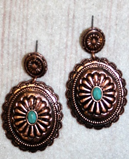 Copper Concho Earring With Small Turquoise