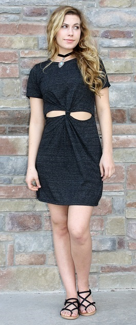 """Meet Me Here"" Charcoal Open Front Dress(LD7160-1)"
