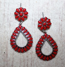 Red & Silver Drop Earrings