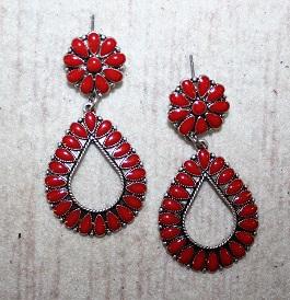 Red & Silver Drop Earrings