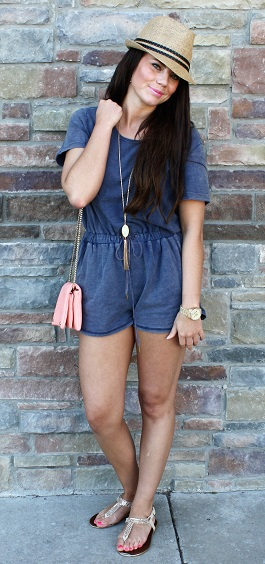 """Cabana Girl"" Light Denim Drawstring Romper(LP80581)"