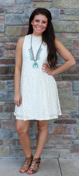 """Gemma"" Ivory Lace Shift Dress(SL4042)"