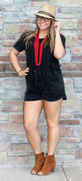 """Cabana Girl"" Dark Denim Wash Drawstring Romper(LP80581)"