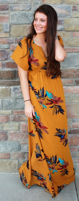 """Paradise Valley"" Marigold Floral Maxi Dress(ED3382)"