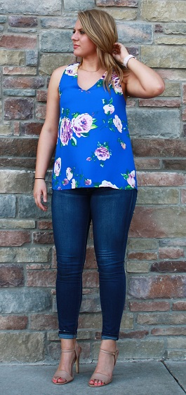 """Caroline"" Royal Blue Floral Top(T10369A)"