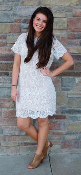 """Wedding Belles""Mock Neck Lace Crochet Dress(94757)"