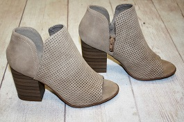 Taupe Open Toe Heeled Booties(OAK)