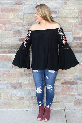 """""""Roses Are Red"""" Black Rose Floral Embroidered Top(R7127)"""