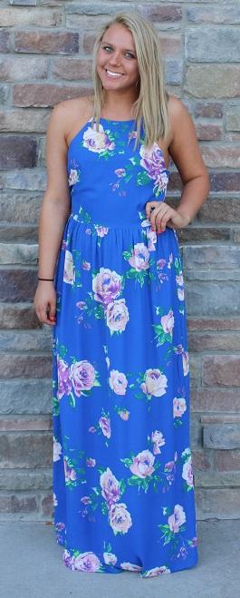 """Alexa"" Royal Blue Floral Maxi Dress(DR677A)"