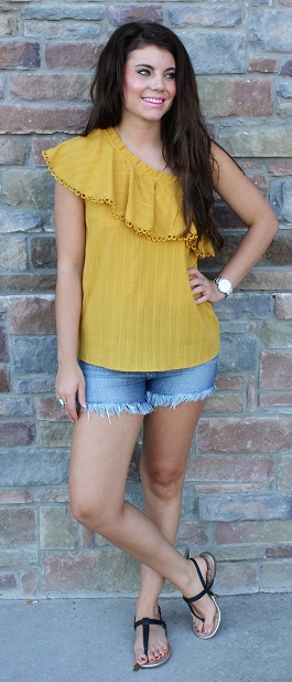 """My Sunshine"" Mustard One Shoulder Ruffle Top(BA7252)"