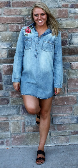 """""""Rosealee"""" Denim Dress With Embroidered Detail(ED14242TL)"""