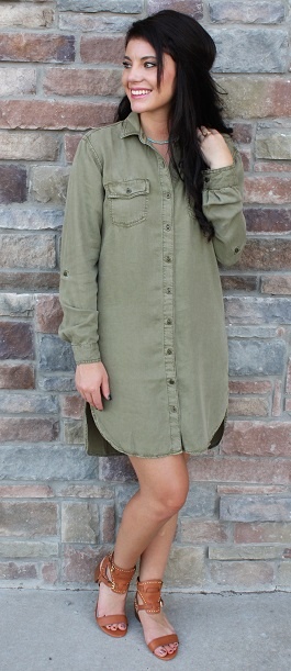 """Desert Rain"" Olive Long Sleeve Button Down Dress"