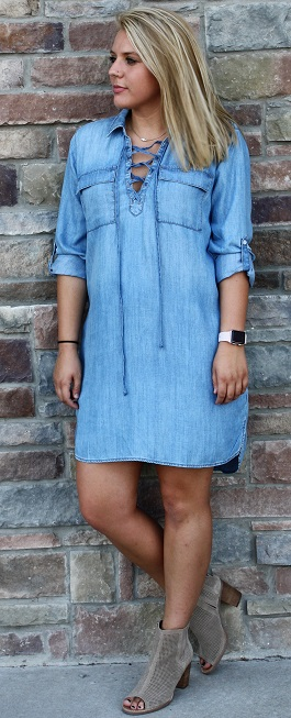 """Backroad Beauty"" Denim Lace Up Dress(SP-J3450)"