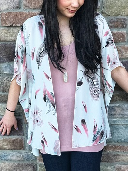 """Fly High"" Ivory Feather Kimono Cardigan"