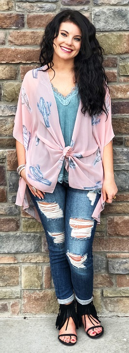"""Prickly N Pink"" Pink Cactus Kimono"