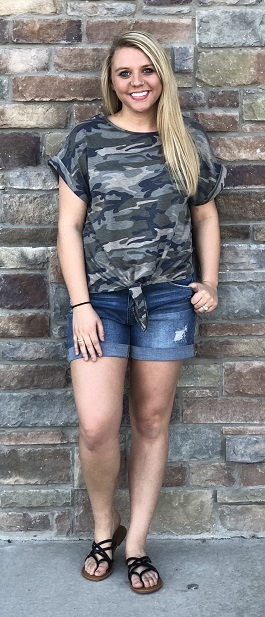 """""""In Hiding"""" Camouflage SS Top With Front Tie"""