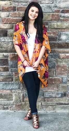 """Radiant Bloom"" Mustard Floral Kimono"