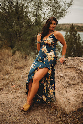"""In The Meadow""Navy Floral Print Asymmetrical Ruffle Maxi Dress"